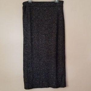 ASHLEY STEWART black & gray knit maxi skirt